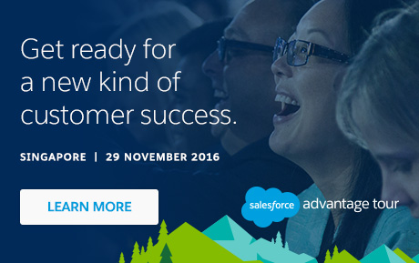 Register for Salesforce Advantage Tour. MARINA BAY SANDS, SINGAPORE TUESDAY, 29 NOVEMBER 2016.