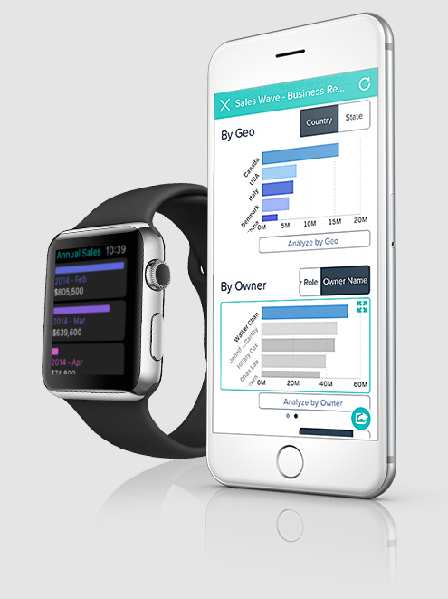 Apple Watch et iPhone affichant Wave Analytics