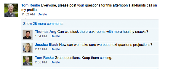 Solicit employee questions and feedback