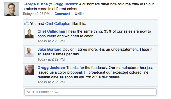 Get feedback to product development