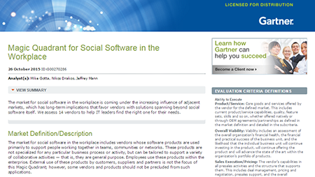 2015 Gartner Magic Quadrant for Social Software in the Workplace