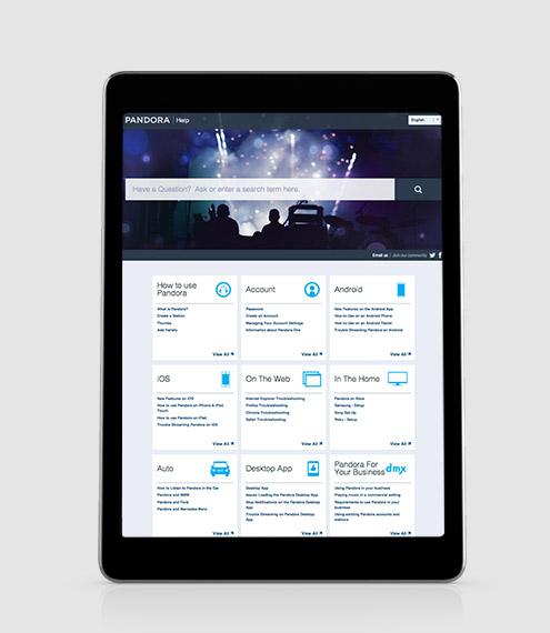 Centro de asistencia de Pandora, con tecnología de Desk.com