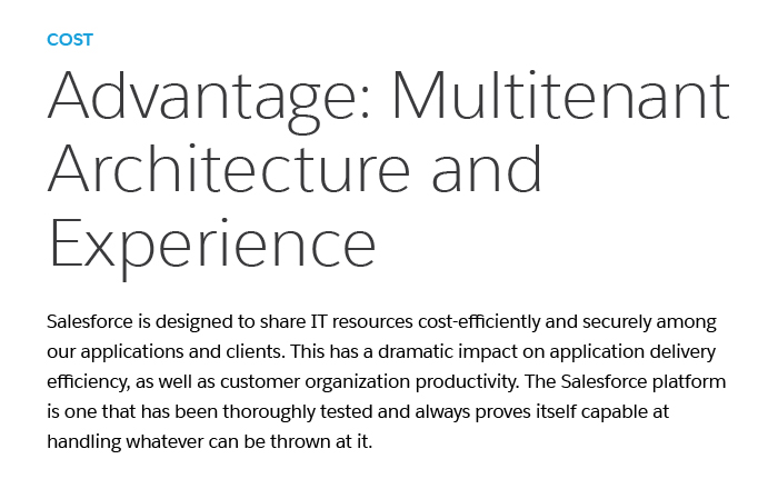 Mutli-Tenant Architecture and Experience: Features at an affordable CRM cost