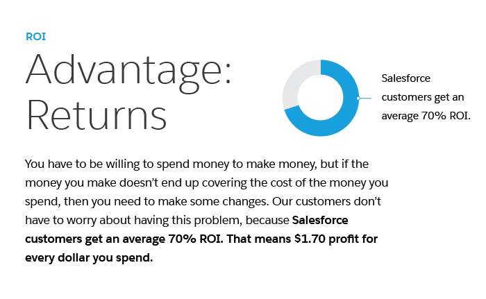 SOne reason Salesforce is the complete crm solution is its ROI