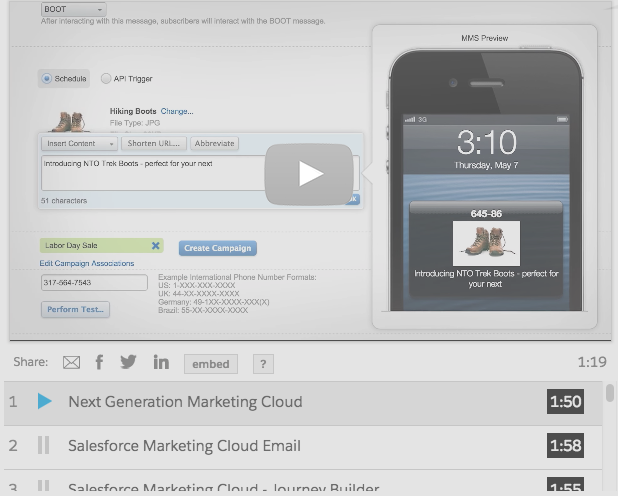 Salesforce Marketing Cloud mobile marketing demo
