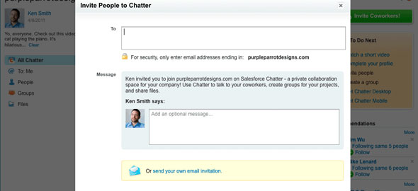 Chatter Email Invitations