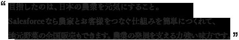 目指したのは、日本の農業を元気にすること。 Salesforceなら農家とお客様をつなぐ仕組みを 簡単につくれて、地元野菜の全国販売もできます。 農業の発展を支える力強い味方です。