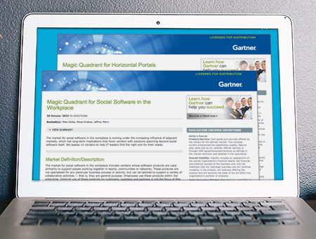 Gartner named Salesforce a leader in horizontal portals and social software in the workplace.