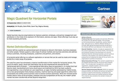 2015 Gartner Magic Quadrant for Horizontal Portals