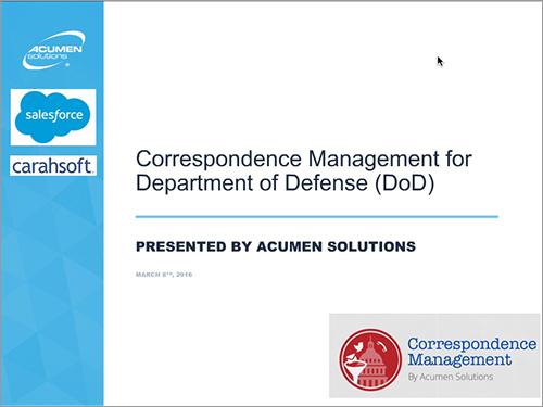 DOD correspondence management webinar