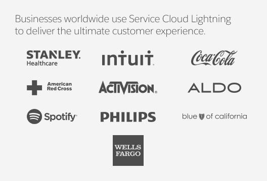 Logos of business using Service Cloud Lightning